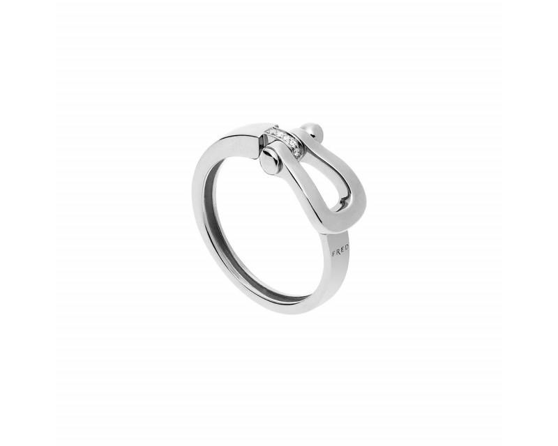 Bague Force 10 MM or gris diamants