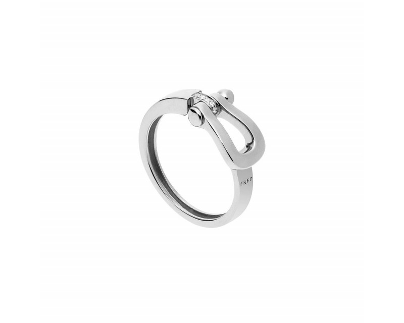 FRED Bague Force 10 MM or gris diamants