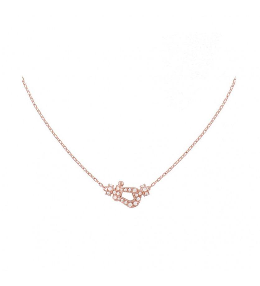 FRED Collier Force 10 PM or rose full pavé diamants sur chaîne forçat diamanté