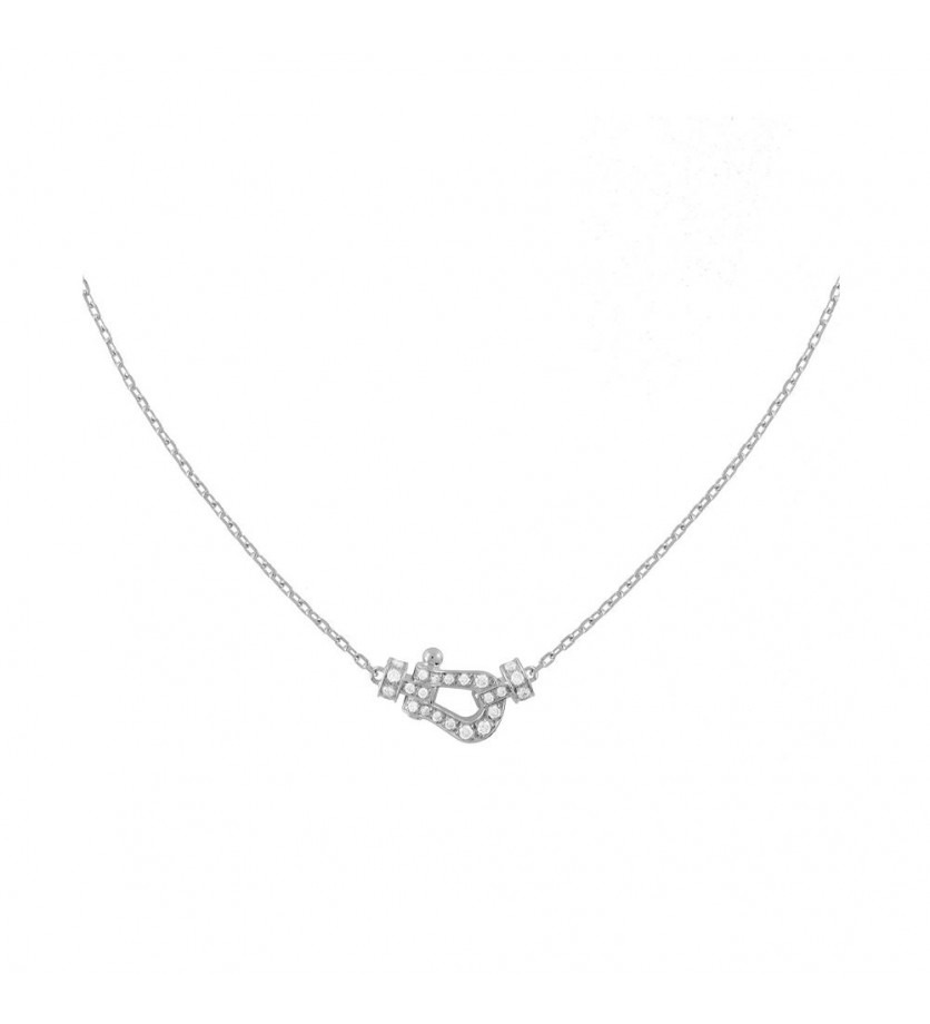 Collier chaine Force 10 PM or gris full pavé diamants
