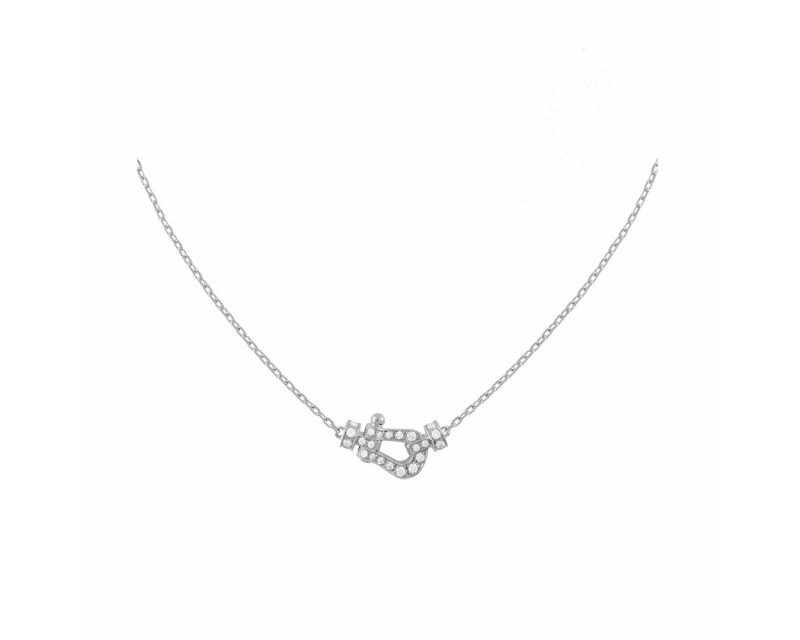 FRED Collier chaine Force 10 PM or gris full pavé diamants