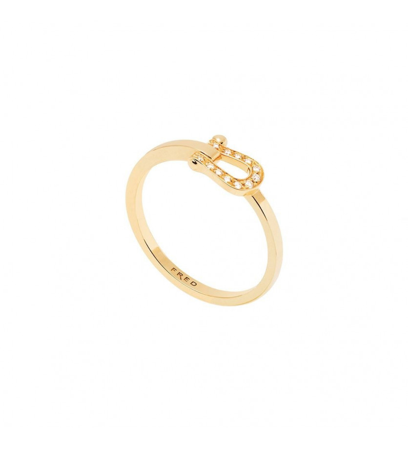Bague Force 10 PM ruban or jaune manille pavée diamants