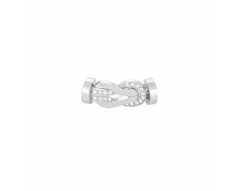 Boucle Chance Infinie GM or gris semi pavé diamants