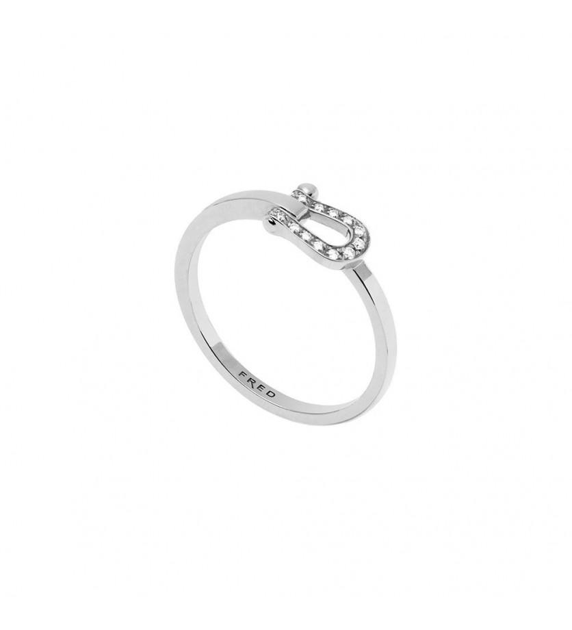 Bague Ruban Force 10 PM or gris pavée 14 diamants