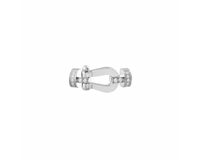 FRED Manille Force 10 MM or gris semi pavé diamants