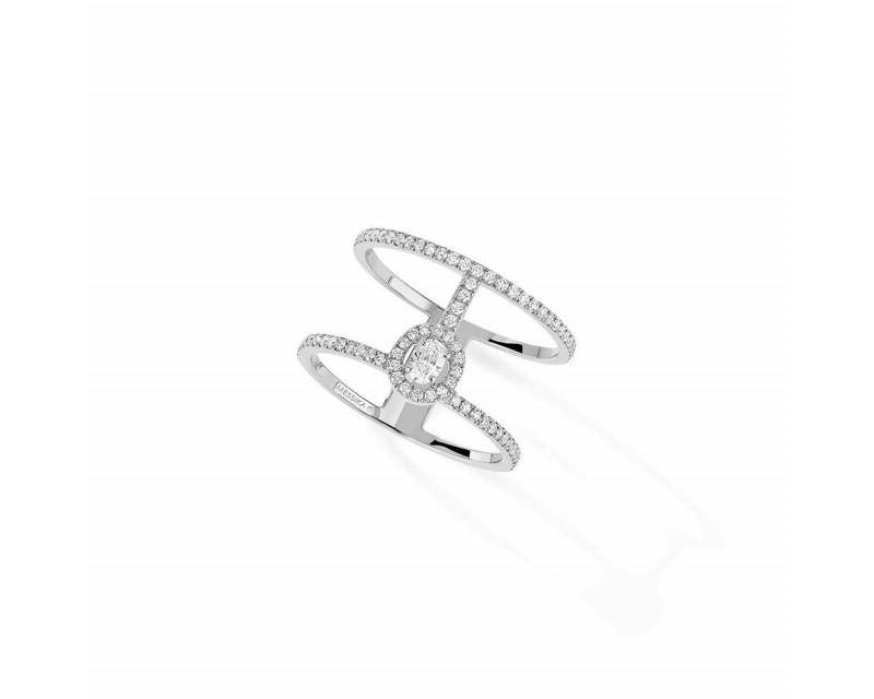 MESSIKA Bague Glam' Amazone or gris 2 rangs pavée diamants