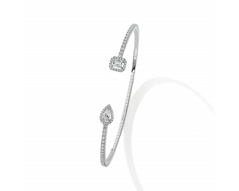 MESSIKA Bracelet jonc My Twin Skinny diamants 0.15ct x2 or blanc, taille S