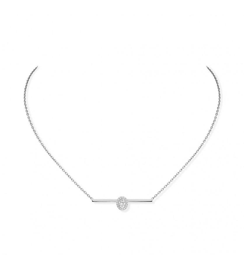 Collier Glam'Azone or gris diamants sur chaine