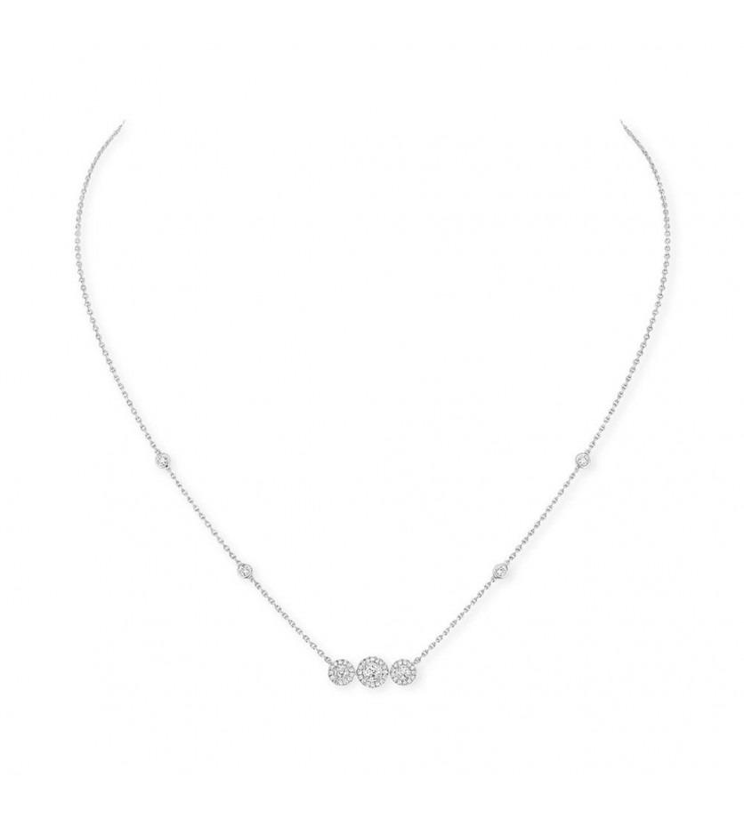 Collier Joy Trilogy or gris diamants sur chaîne