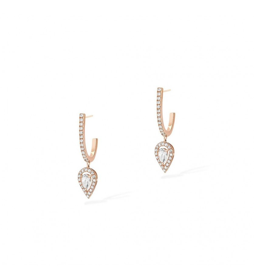 MESSIKA Boucles d'oreille créoles Joy charms poire or rose diamants