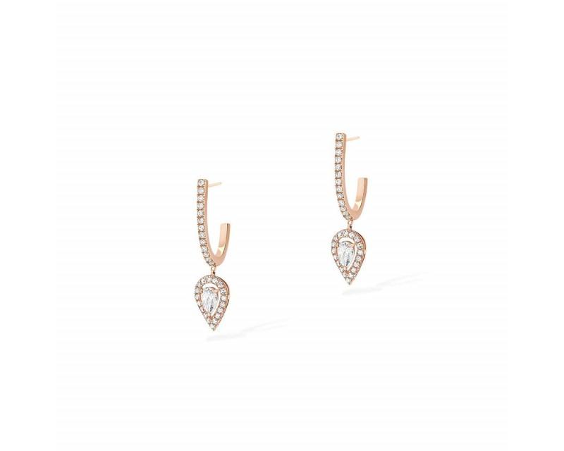 Boucles d'oreille créoles Joy charms poire or rose diamants