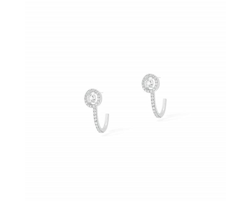 MESSIKA Boucles d'oreilles Créoles Joy charms or blanc pavé diamants