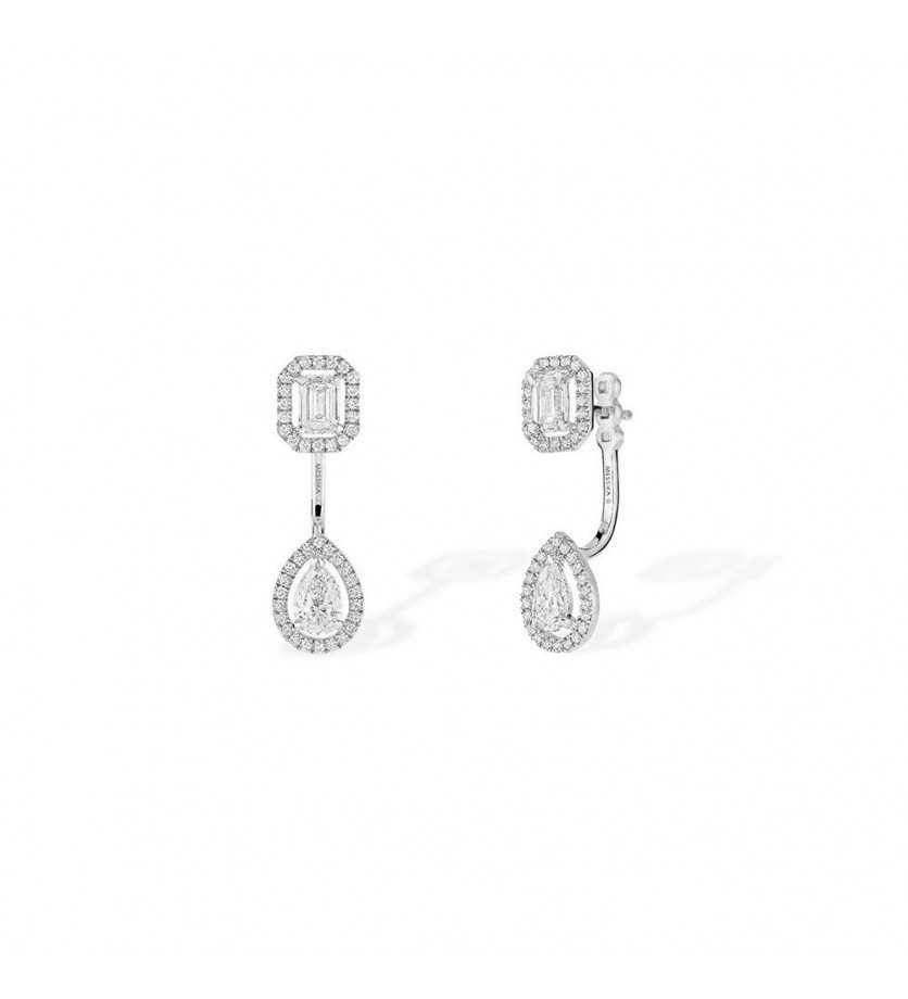 Boucles d' oreille My Twin MM or blanc diamants