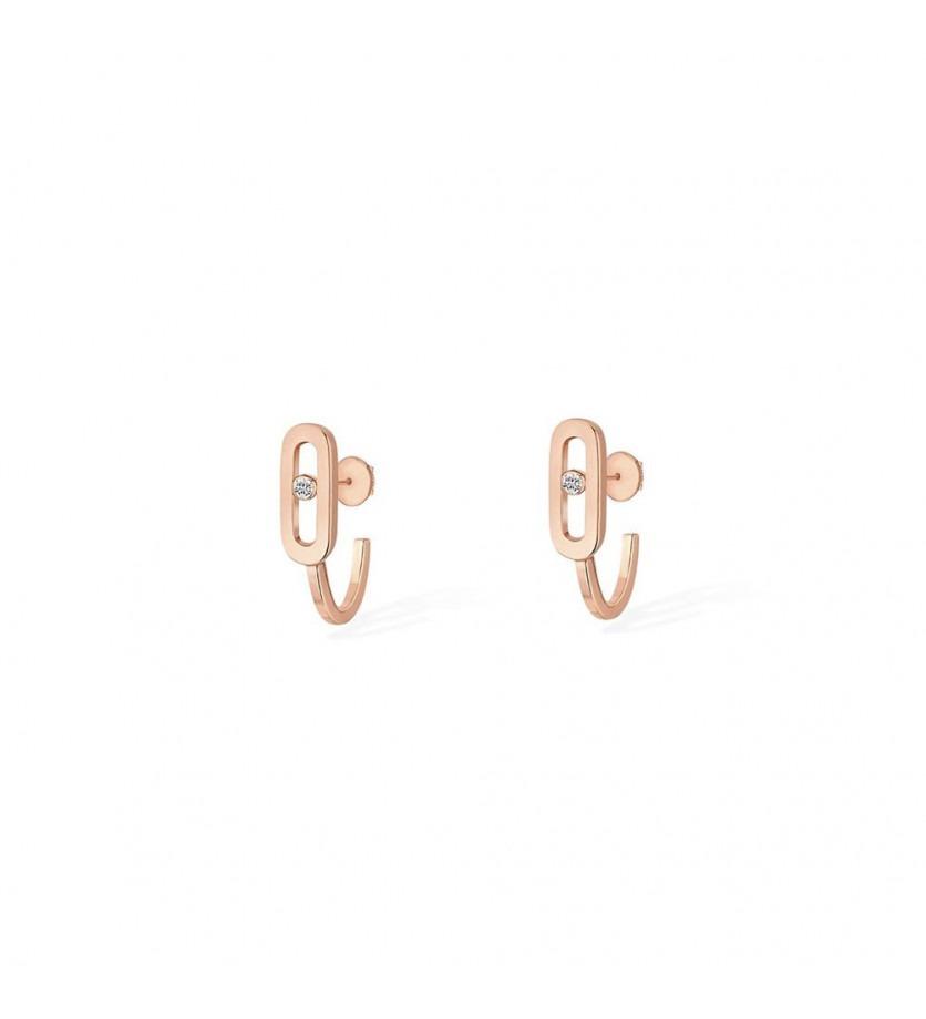 Boucles d'oreille mini créoles Move Uno or rose diamant