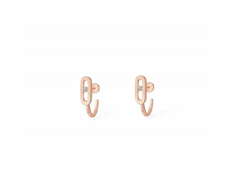 MESSIKA Boucles d'oreille mini créoles Move Uno or rose diamant