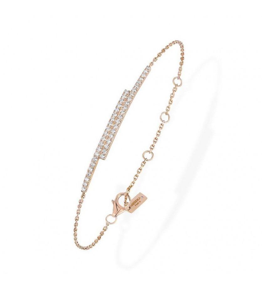 Bracelet Gatsby Duetto barette or rose diamants