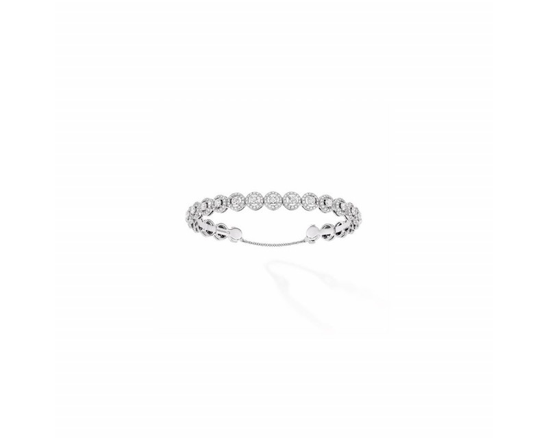 Bracelet jonc Joy Skinny or gris diamants