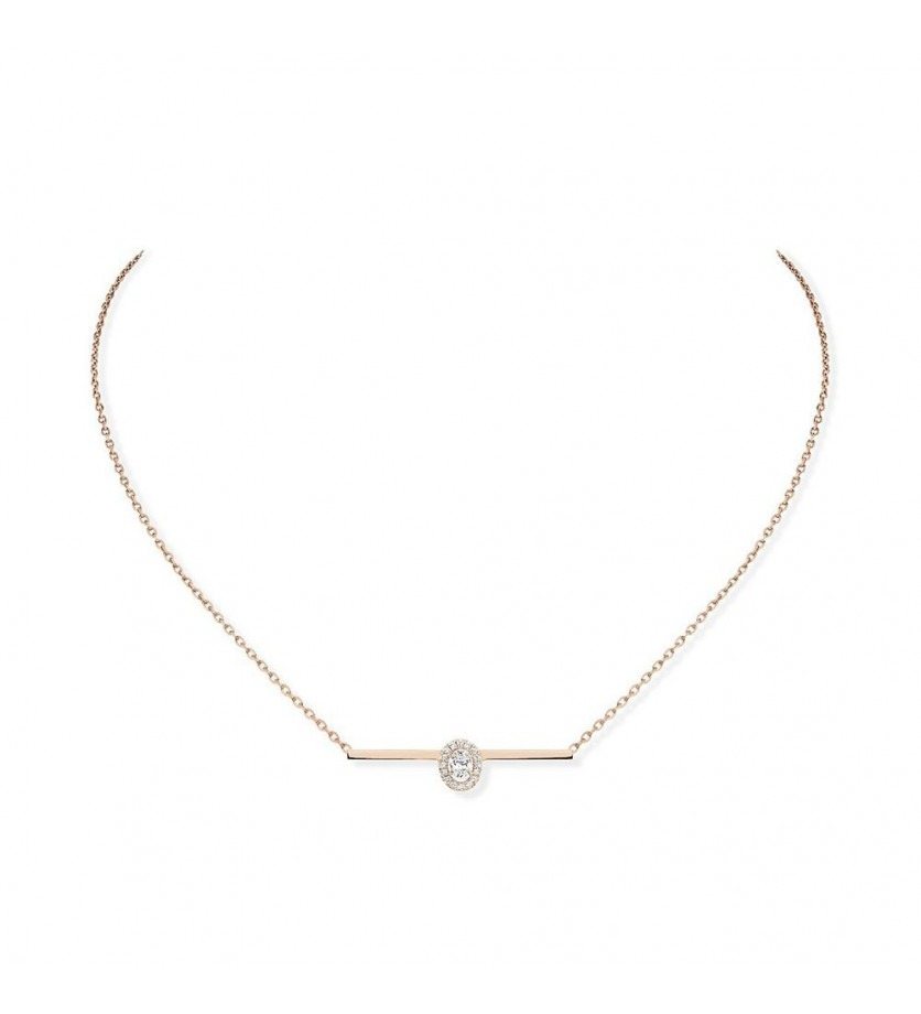 Collier Glam'Azone or rose diamants sur chaine