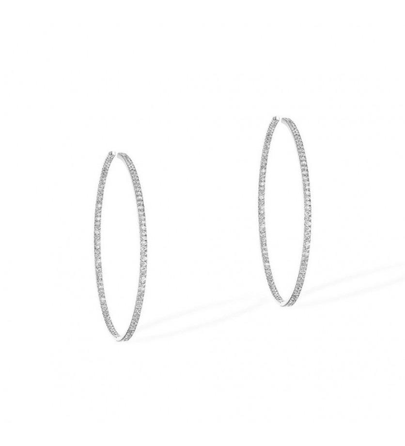 Boucles d'oreille Gatsby Eternity S or gris diamants 2.7cm