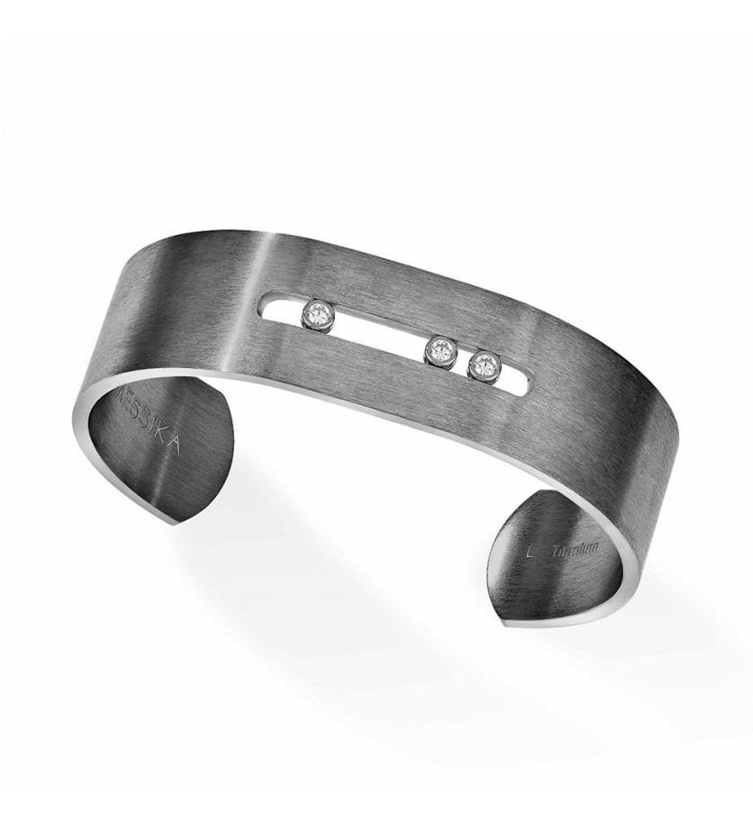 Bracelet bangle Move Titanium L diamants blancs