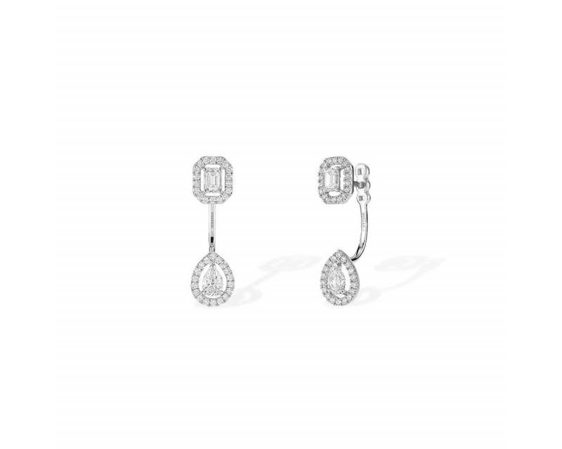 MESSIKA Boucles d'oreille My Twin Toi & Moi PM or gris diamants