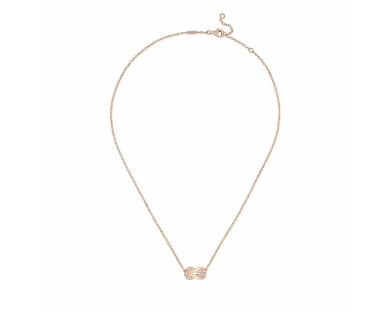 FRED Collier Chance Infinie moyen modèle or rose semi pavé diamants sur chaîne forçat rond ajusta