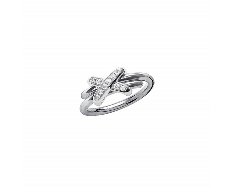 CHAUMET Bague Premiers Liens XS or gris diamants