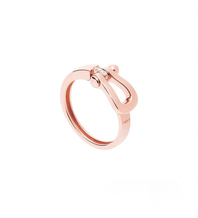FRED Bague Force 10 Ruban mini or rose semi pavée diamants