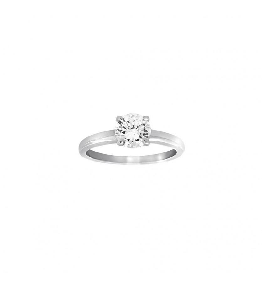 Bague solitaire or gris 4 griffes diamant 1,03 HVS1