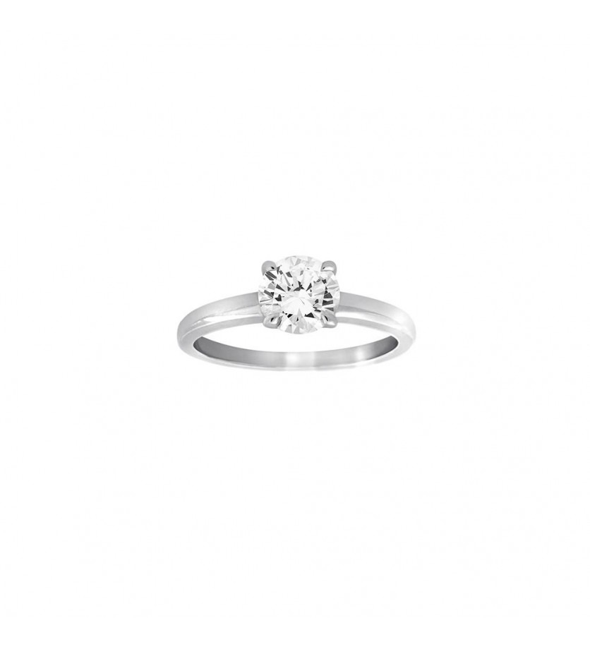 Bague solitaire or gris 4 griffes diamant 1,02ct GSI1 certificat HRD