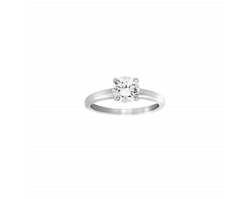 Bague solitaire or gris 4 griffes diamant 1,03 HVS1 certificat HRD 14005041001