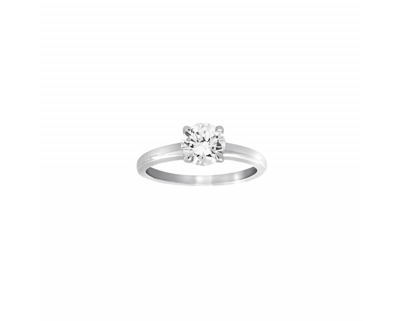 FROJO Bague solitaire or gris 4 griffes diamant 1,02ct GSI1 certificat HRD