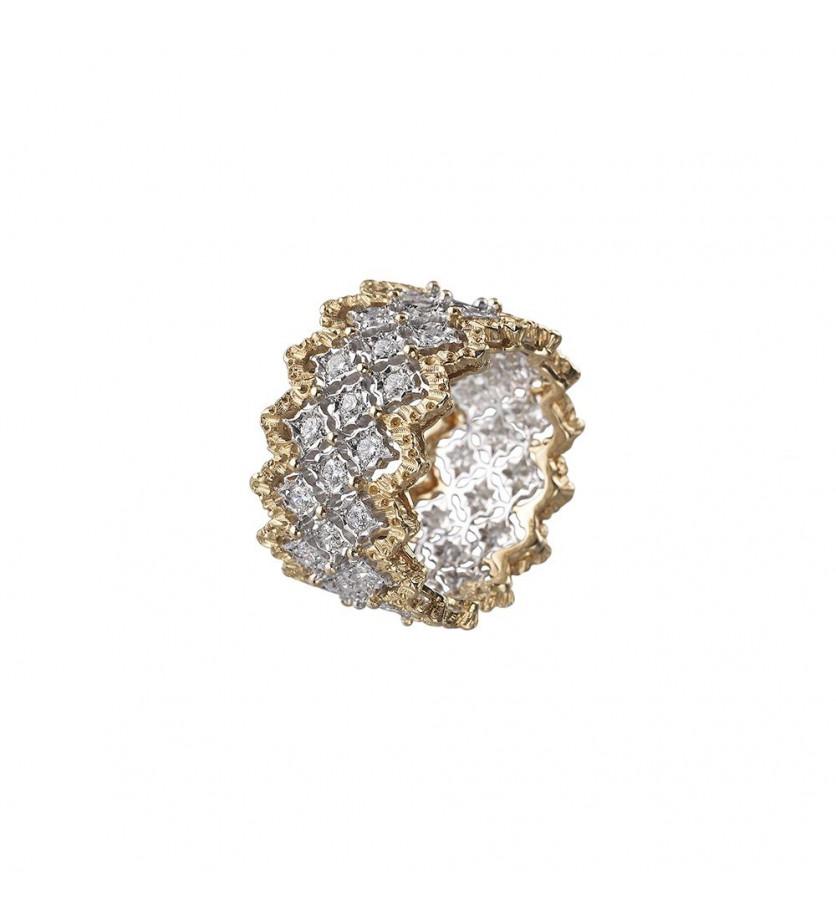 Bague Eternelle Rombi or jaune or gris diamants
