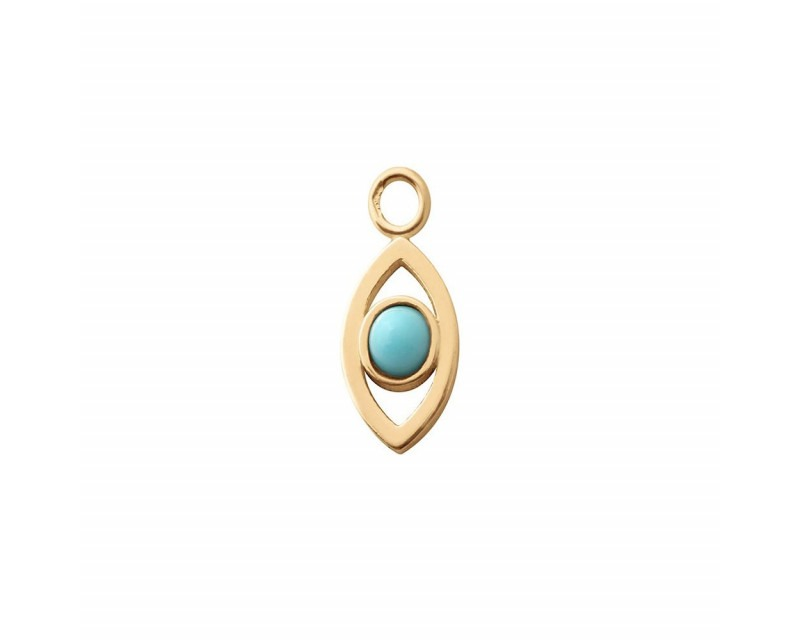 CHARLET Pendentif Oeil or jaune demi cabochon turquoise