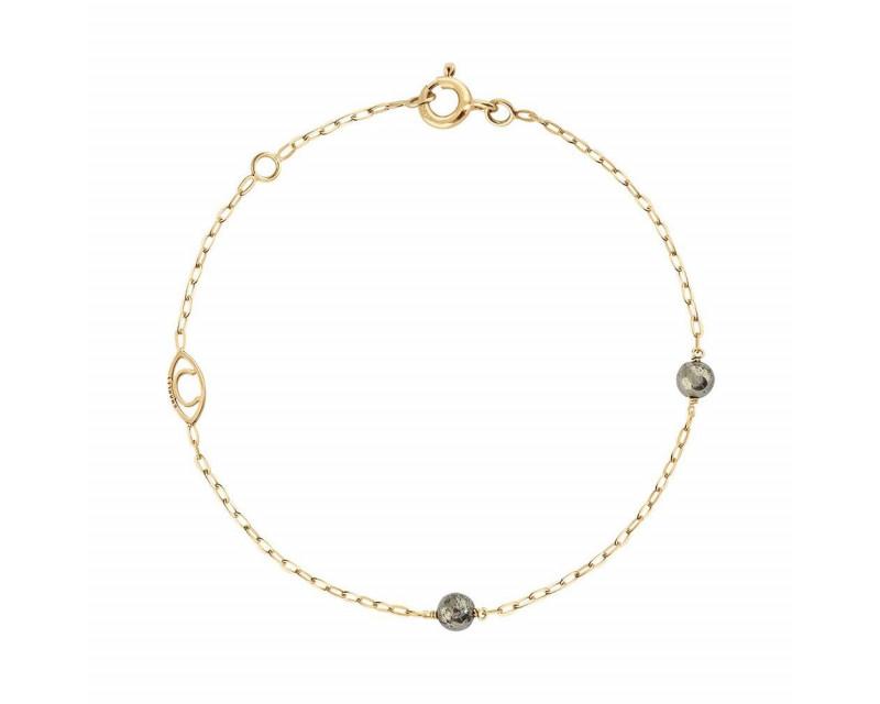 CHARLET Bracelet Massilia or jaune 2 boules en pyrite