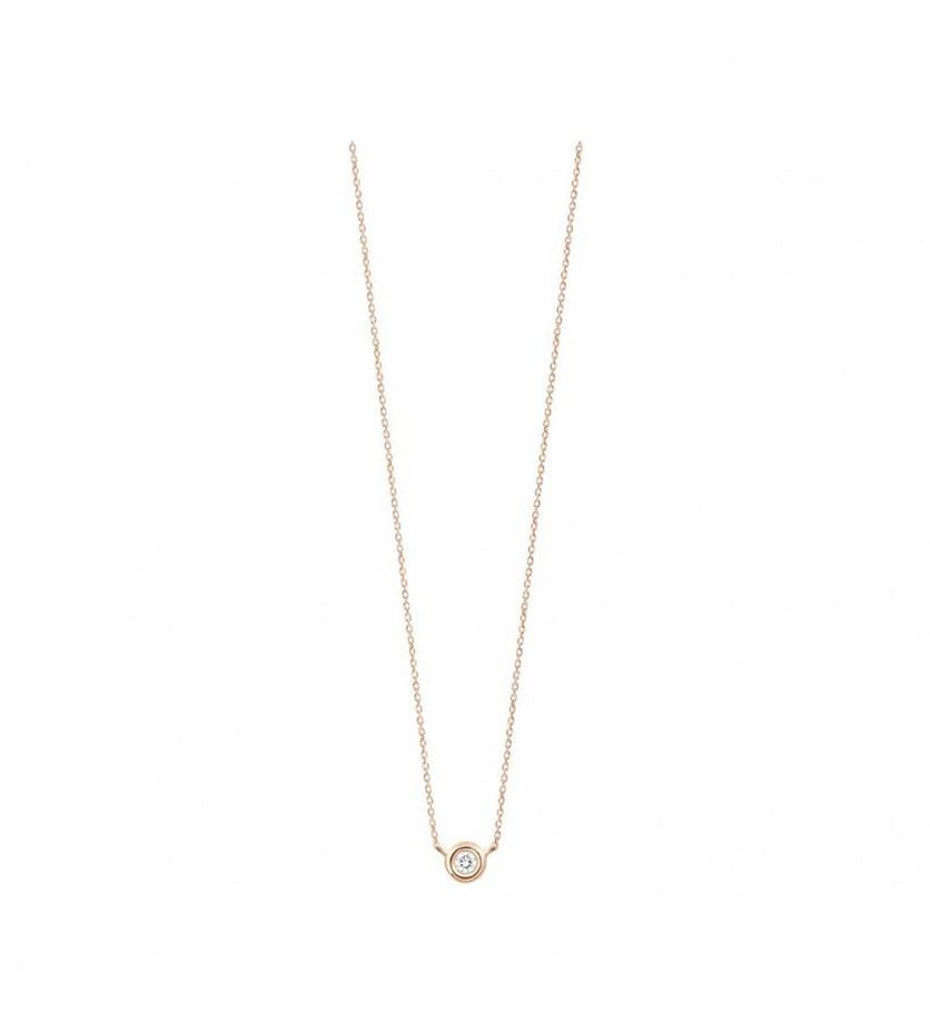 Collier or rose diamant serti clos sur chaîne