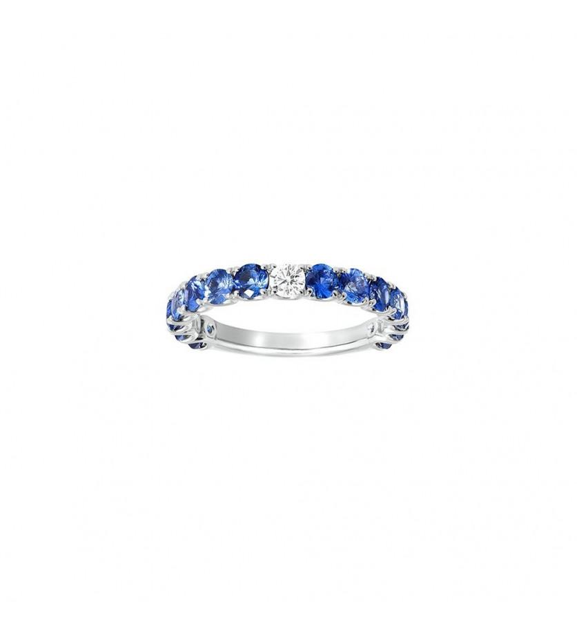 Alliance or gris saphirs bleus foncés 1,55ct + diamant 0,10ct GSI