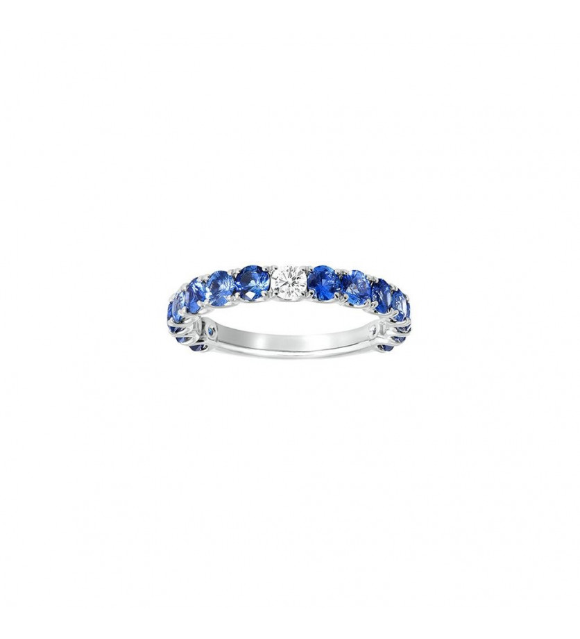 Alliance or blanc saphirs bleus 1,86ct + diamant 0,10ct GSI