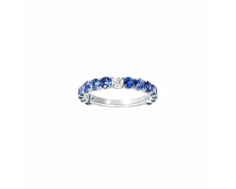 FROJO Alliance or blanc saphirs bleus 1,86ct + diamant 0,10ct GSI