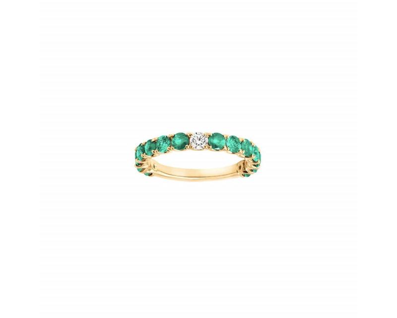 Alliance or rose émeraudes 1,60ct diamant 0,10ct