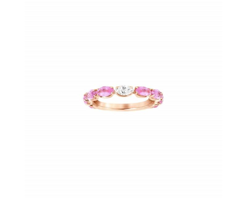 Alliance or rose saphirs roses diamant