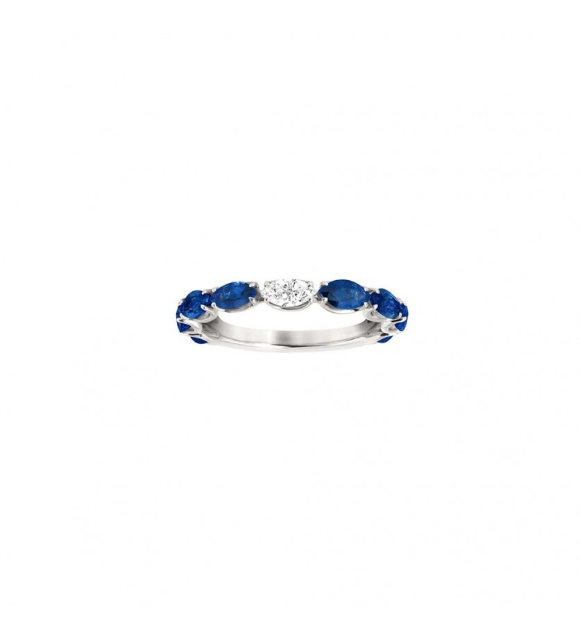 Alliance or gris saphirs bleus navettes 1,20ct diamant 0,12ct