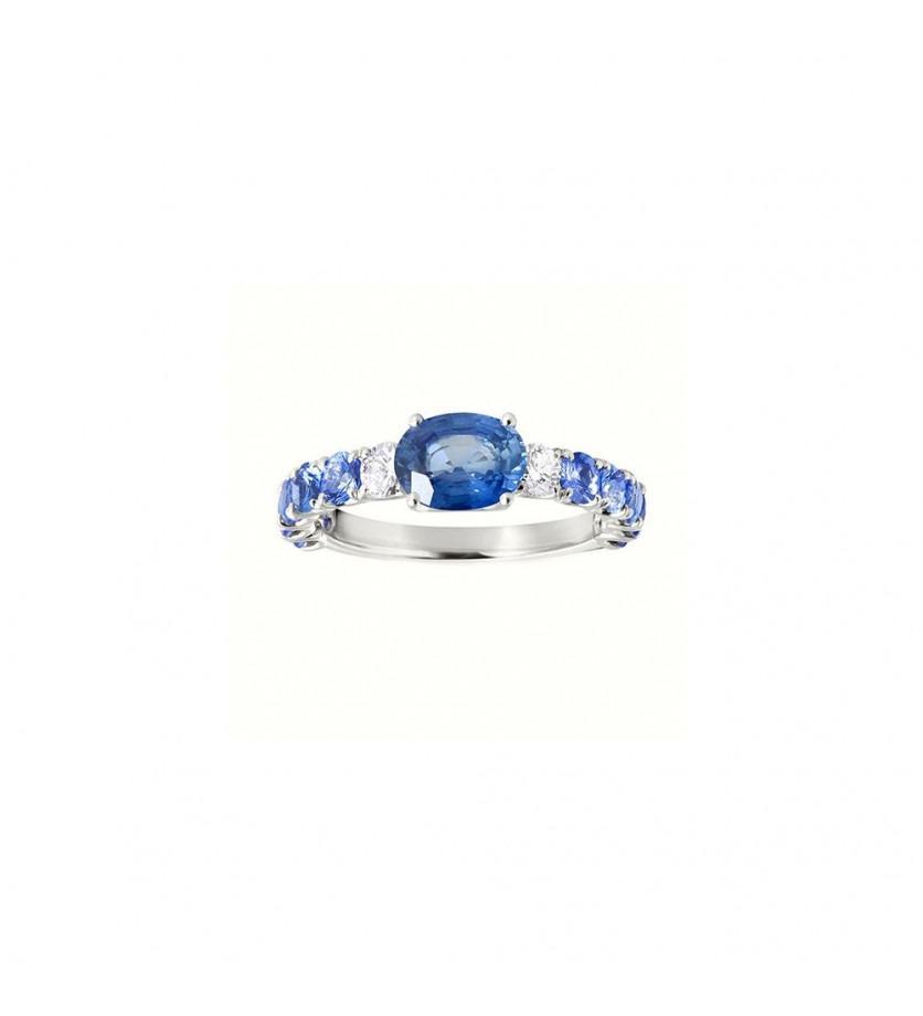 Bague or jaune saphir bleu 1ct monture saphirs bleus 1,00ct + 2 diamants 0,20ct