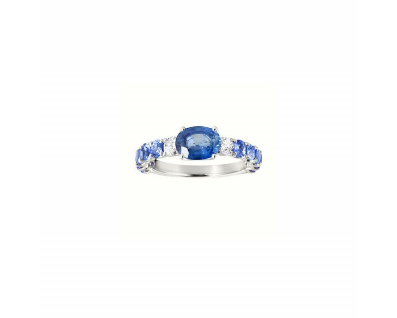 FROJO Bague or gris saphir bleu 1ct monture saphirs bleus 1,20ct + 2 diamants 0,20ct