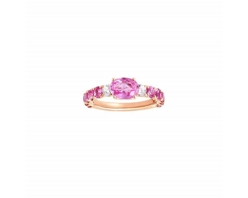 Bague or rose saphir rose 1ct monture saphirs roses 1,20ct + 2 diamants 0,20ct
