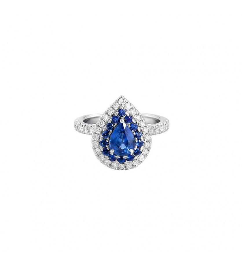 Bague or gris poire saphir 1,20ct entourage saphirs et diamants