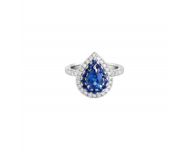 FROJO Bague or gris poire saphir 1,20ct entourage saphirs et diamants
