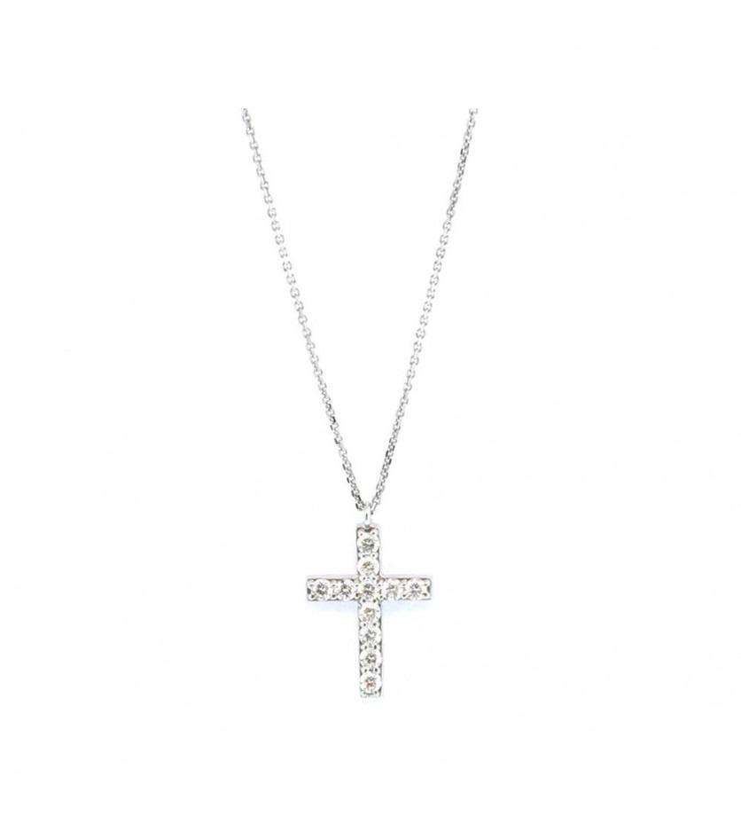 FROJO bracelet croix diamants or gris 0,33ct GSI