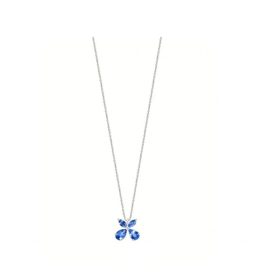 Pendentif or gris saphirs bleus 1,50ct diamant 0,02ct chaine or gris