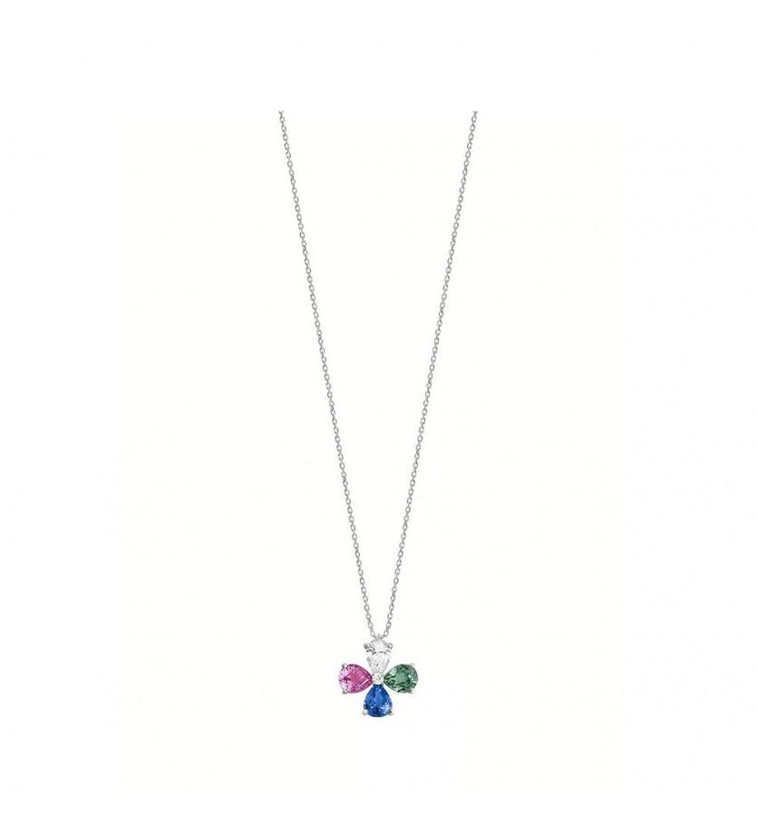 Pendentif multi poires saphir bleu, saphir rose, émeraude, diamants, sur chaîne en or rose